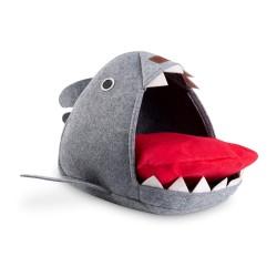 Freezack Lit pour chats Shark Cave gris 55x64x33cm